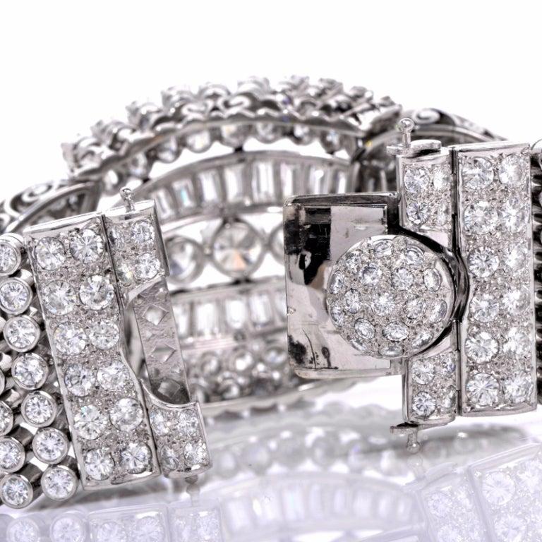 1950s Diamond Wide Platinum Bracelet image 3