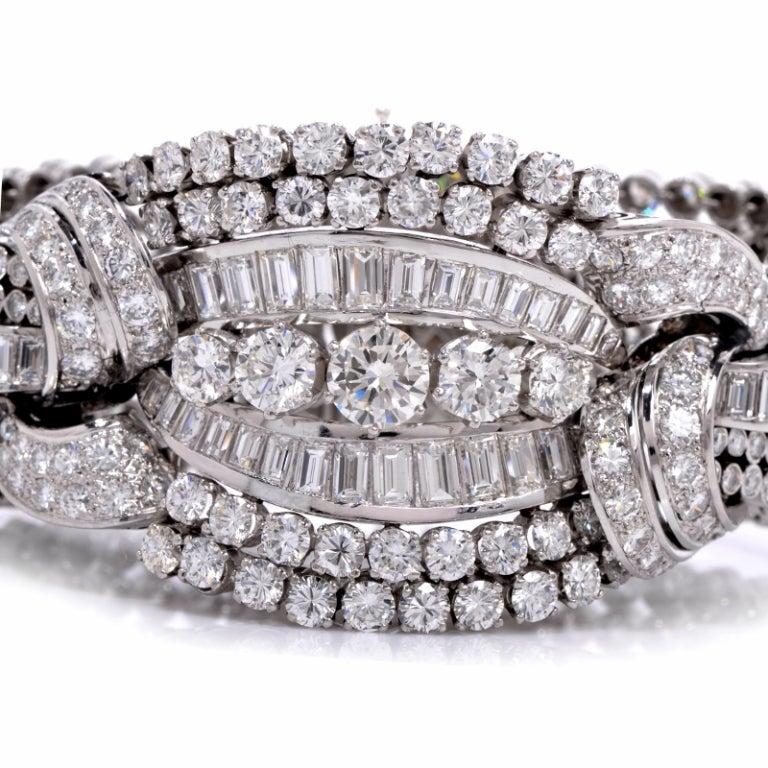 1950s Diamond Wide Platinum Bracelet image 4