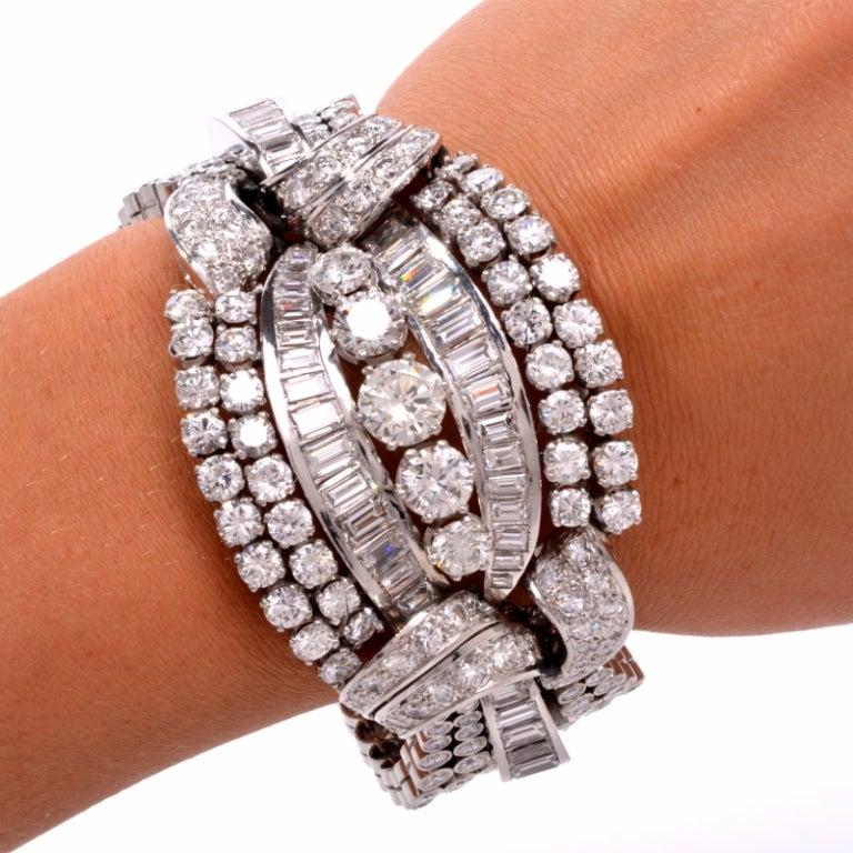 1950s Diamond Wide Platinum Bracelet image 6