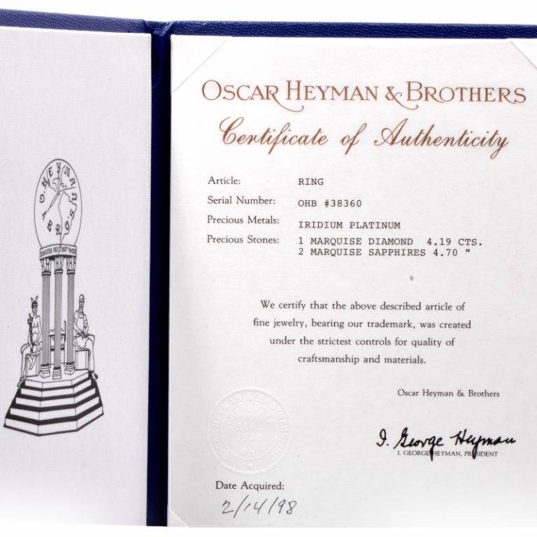 Women's Oscar Heyman GIA 4.19 Carat E-VS2 Marquise Diamond platinum Engagement Ring For Sale