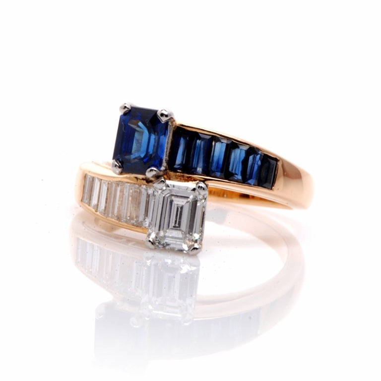 Oscar Heyman 2.45 ct Diamond Sapphire Gold Bypass Ring 2