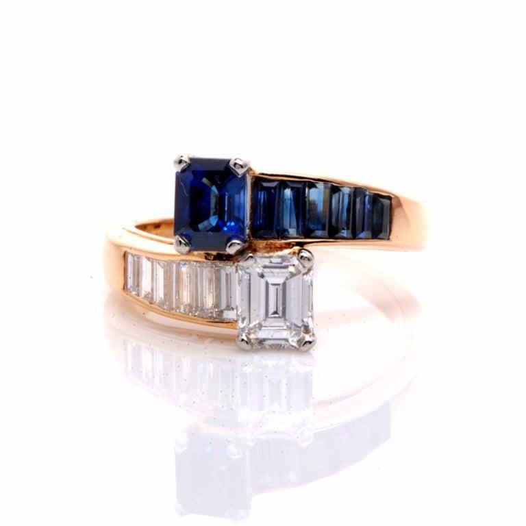 Oscar Heyman 2.45 ct Diamond Sapphire Gold Bypass Ring 3