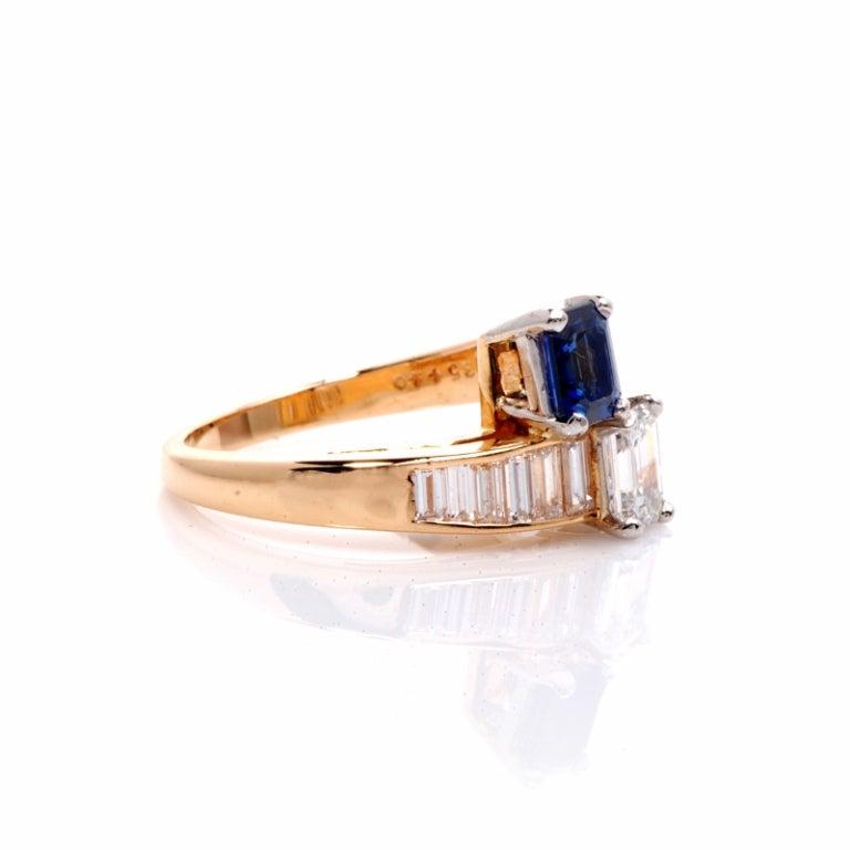 Oscar Heyman 2.45 ct Diamond Sapphire Gold Bypass Ring 4