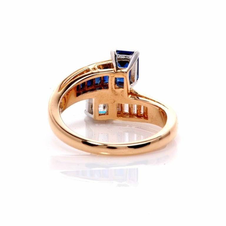 Oscar Heyman 2.45 ct Diamond Sapphire Gold Bypass Ring 5