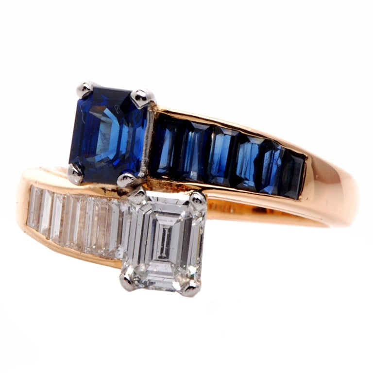 Oscar Heyman 2.45 ct Diamond Sapphire Gold Bypass Ring 1