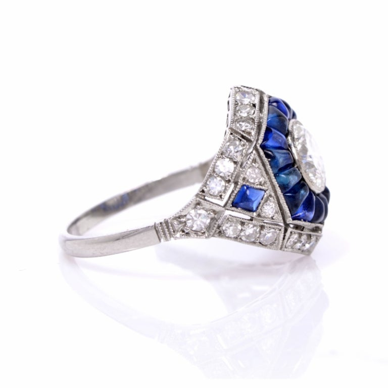 3 96cts sapphire platinum engagement ring at 1stdibs