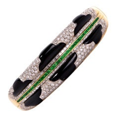 Stylish Diamond Emerald Gold Onyx Bangle Bracelet