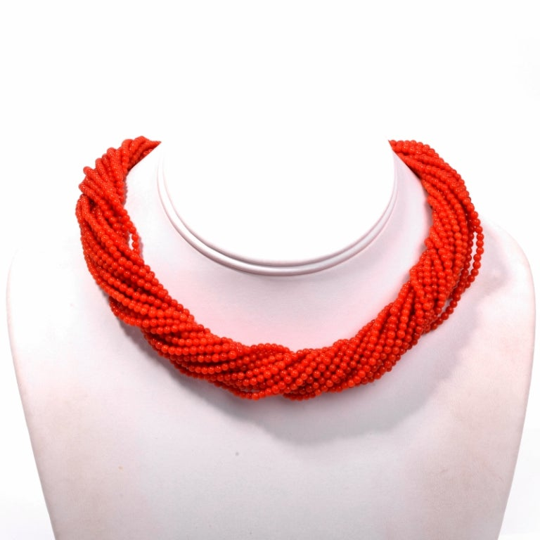 Multi-Strand Red Coral Bead Gold Necklace 2