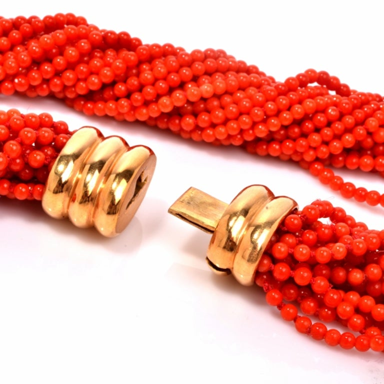 Multi-Strand Red Coral Bead Gold Necklace 5