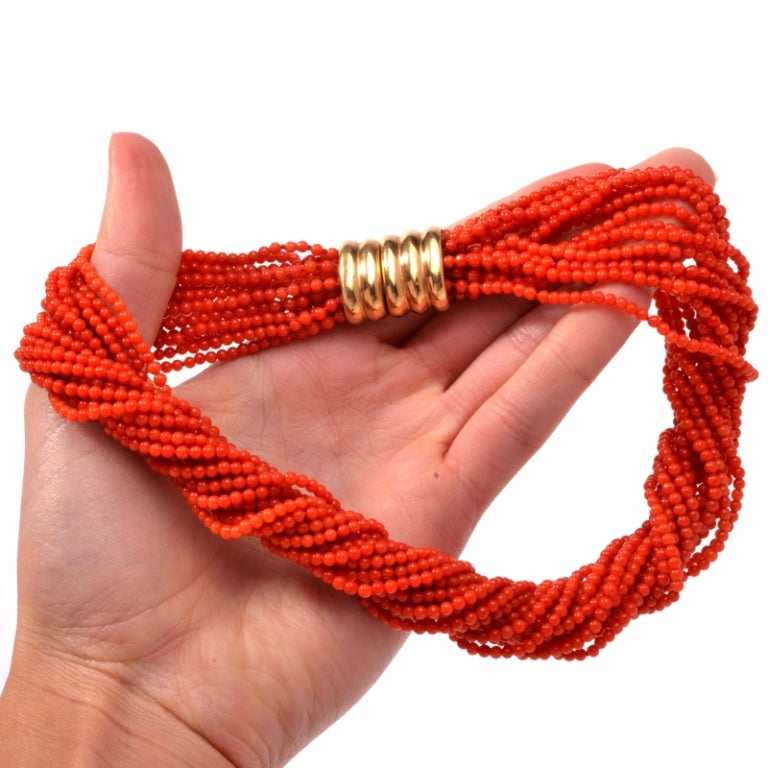 Multi-Strand Red Coral Bead Gold Necklace 6