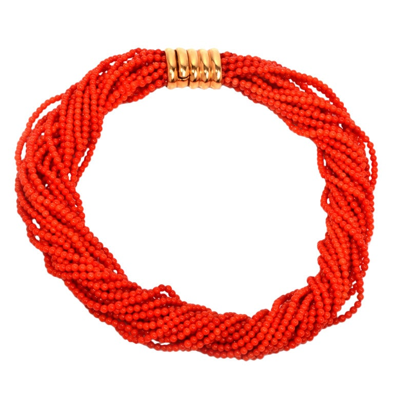 Multi-Strand Red Coral Bead Gold Necklace 1