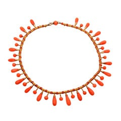 Red Coral Gold Choker Victorian Necklace Circa1900s