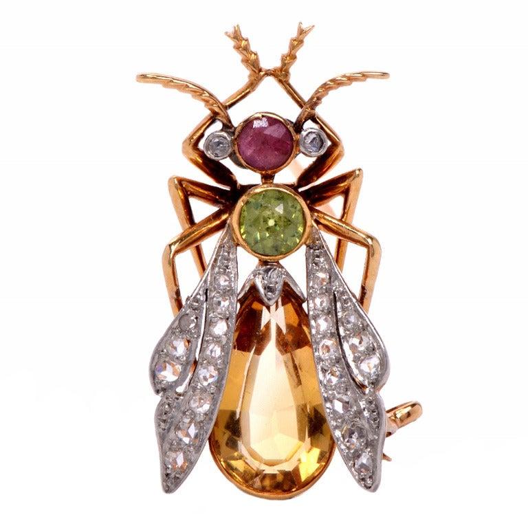 Diamond Brooch Gold And Platinum Insect Pin Circa 1800 At