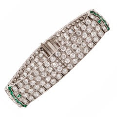 1920s Diamond Emerald Platinum Wide Bracelet