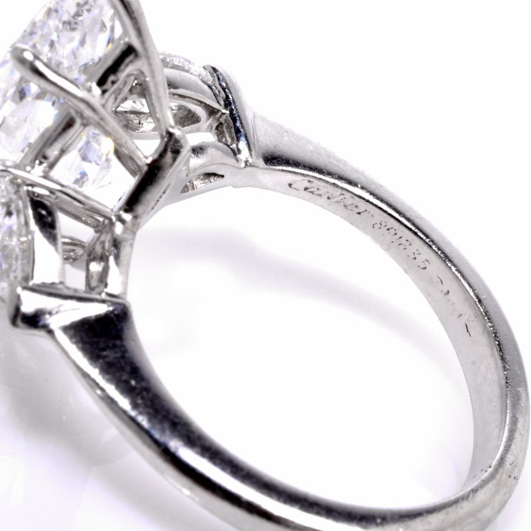 Cartier 4.38 ct, D Color, Internally flawless Diamond Platinum Ring image 5