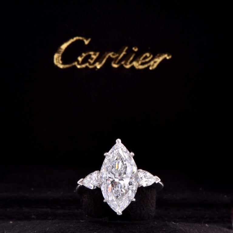 Cartier 4.38 ct, D Color, Internally flawless Diamond Platinum Ring image 7