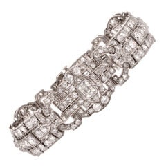 1930's Diamond Platinum Filigree Bracelet