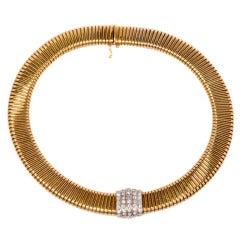 Diamond Tubogas Gold Choker Necklace