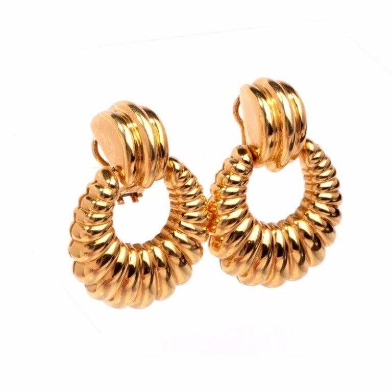 Large Door Knob Gold Hoop Earrings At 1stdibs