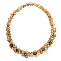 Charming Diamond Tsavorites Gold Chocker Necklace