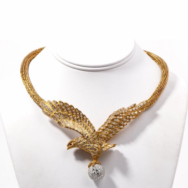 Lalaounis  Diamond Eagle Gold Necklace 2