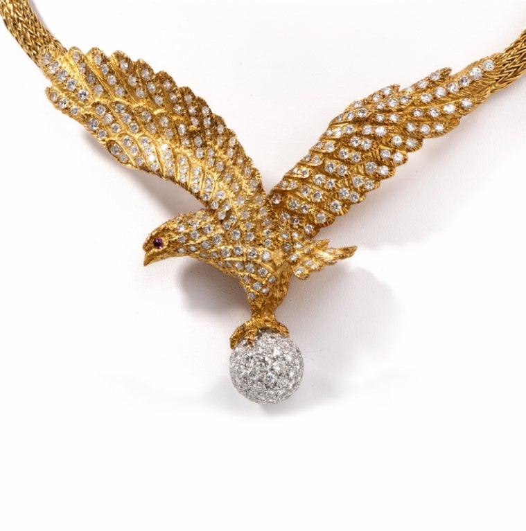 Lalaounis  Diamond Eagle Gold Necklace 3