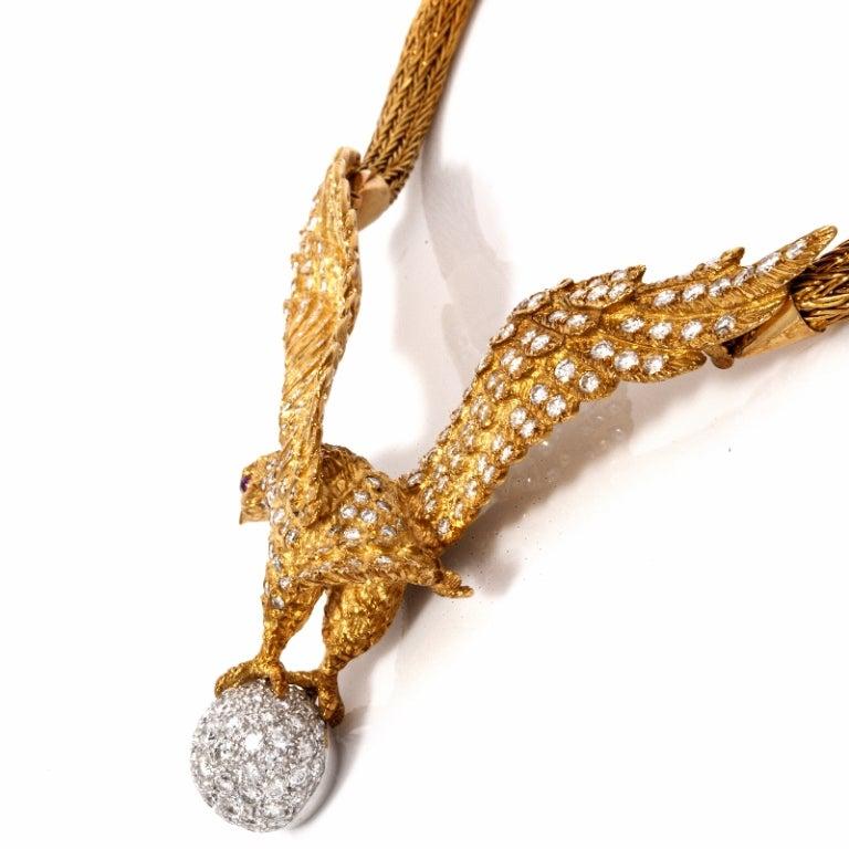 Lalaounis  Diamond Eagle Gold Necklace 5