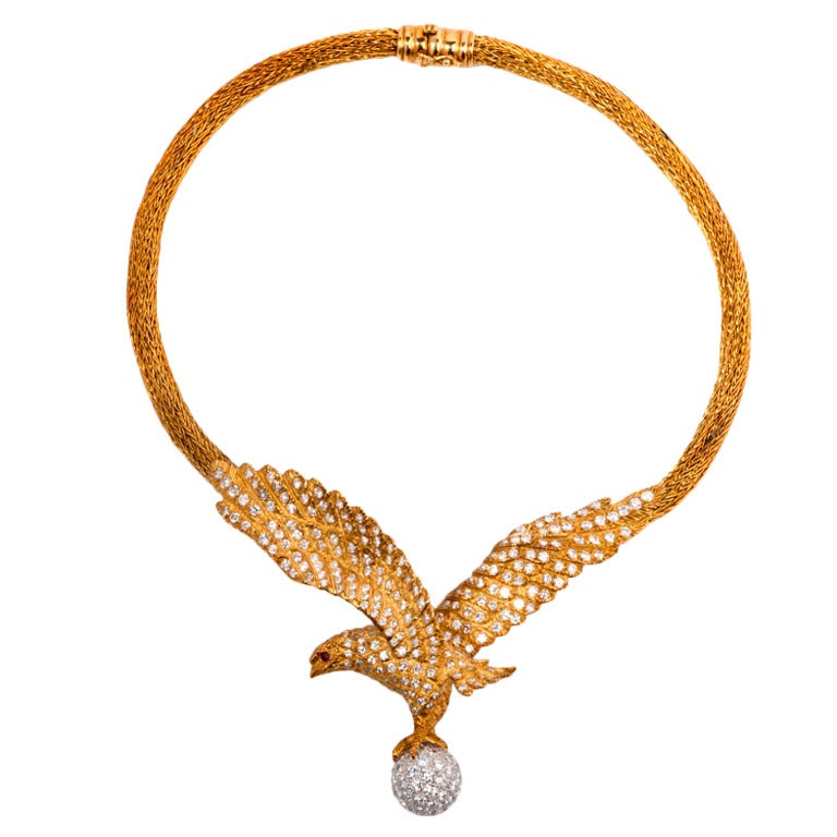 Lalaounis  Diamond Eagle Gold Necklace 1