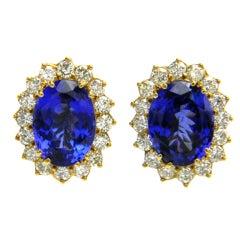 1980s Tanzanite Diamond Gold Lady Diana Earrings