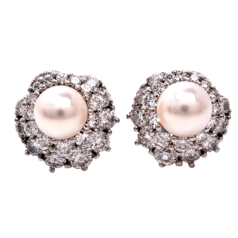 harry winston pearl platinum clip back earrings at