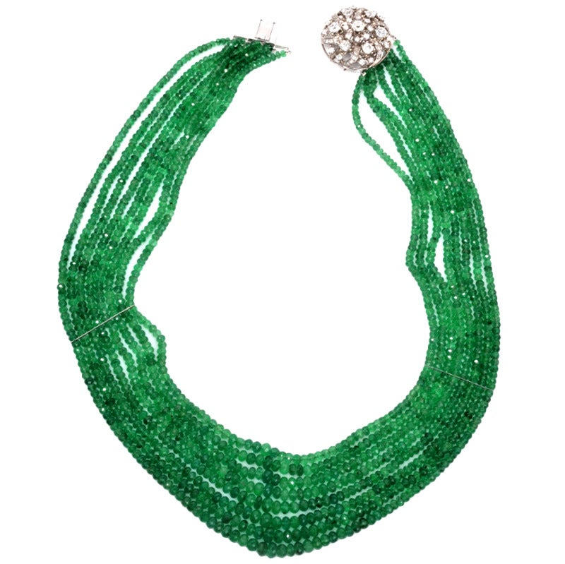 emerald bead gold clasp necklace at 1stdibs