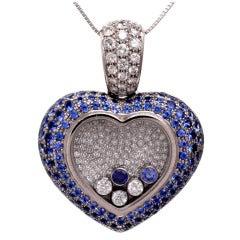 Chopard Happy Diamond Sapphire Diamond Gold Heart-Shaped Pendant