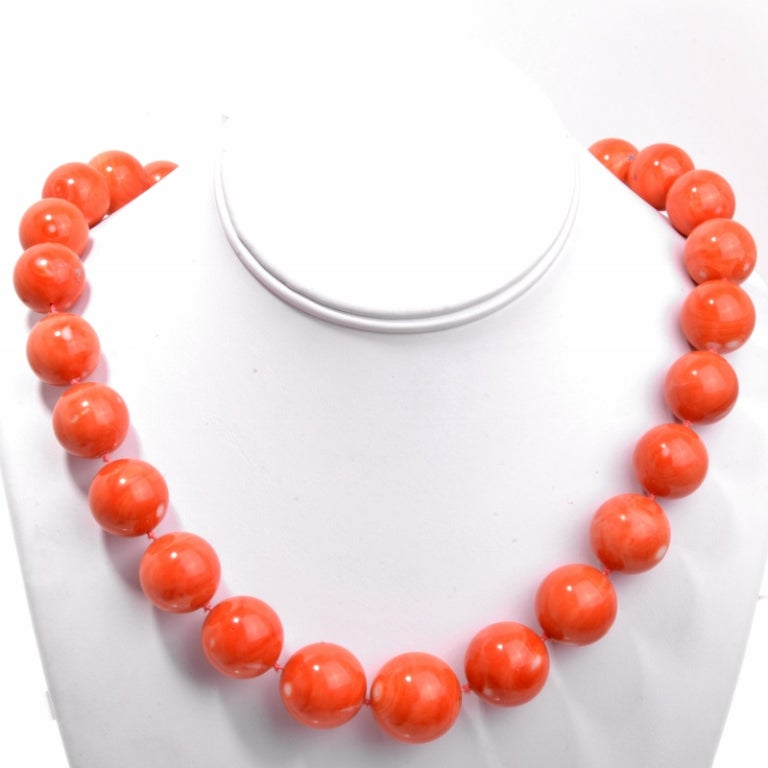 coral bead necklace at 1stdibs
