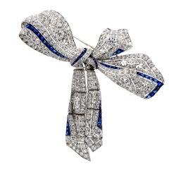 Art Deco 32.15cts Diamond Sapphire Platinum Bow Pin Brooch