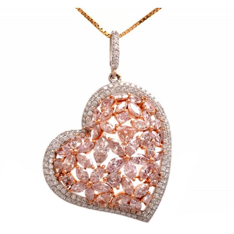 Gia Fancy Light Pink Diamond Gold Heart Pendant At 1stdibs