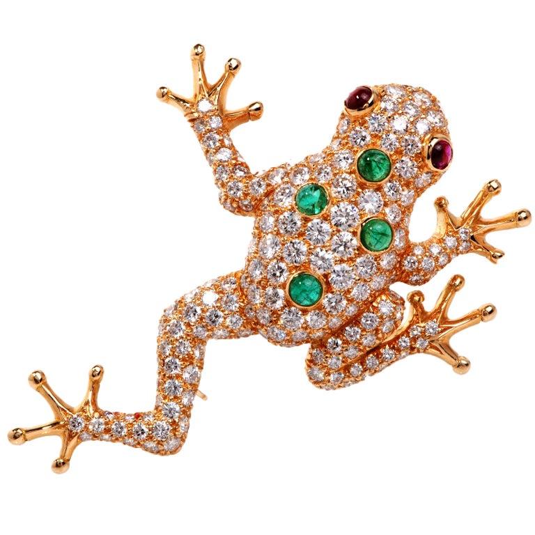 Oscar Heyman 7 27 Carat Diamond Gold Frog Pin Brooch At