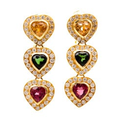 1980's Citrine Tourmaline Gold Heart Drop Earrings