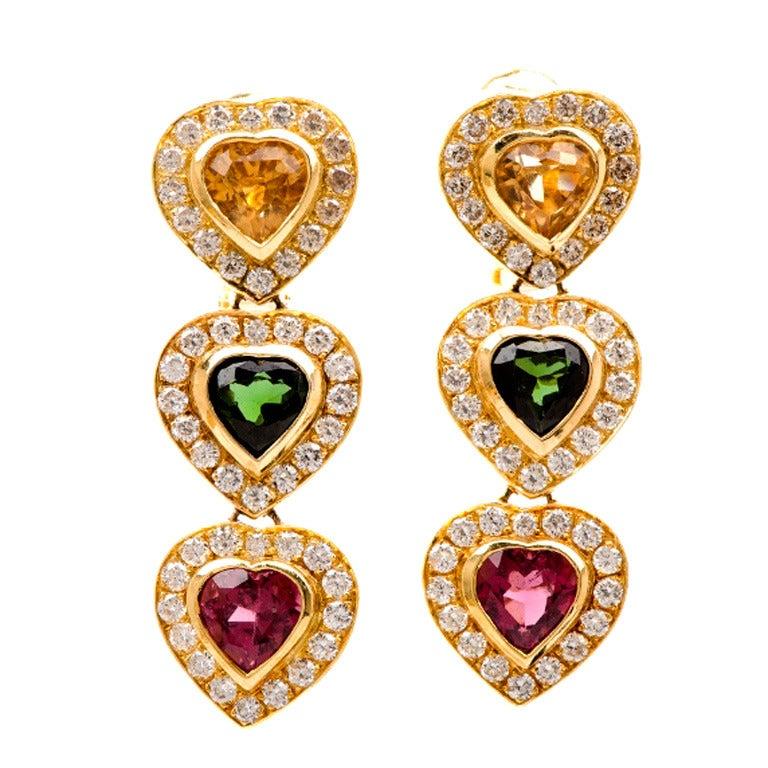 1980's Citrine Tourmaline Gold Heart Drop Earrings
