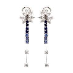Stefan Hafner Sapphire Diamond Chandelier Drop Earrings