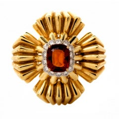 1970s Citrine Diamond Gold Lapel Brooch