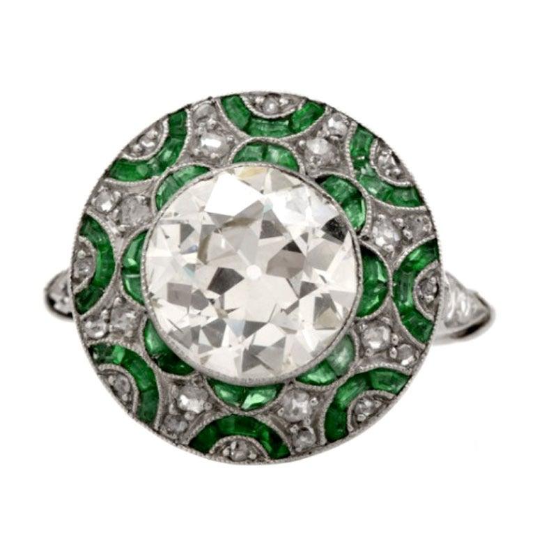 european emerald platinum engagement ring at 1stdibs