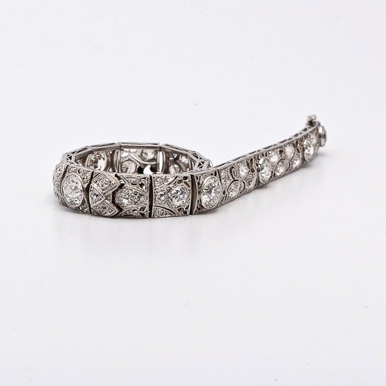 Antique Art Deco 15.15cts  Diamond  Platinum Filigree Bracelet 3