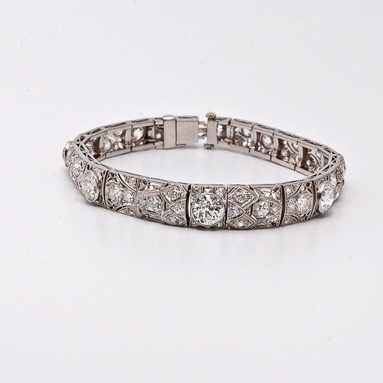 Antique Art Deco 15.15cts  Diamond  Platinum Filigree Bracelet 4