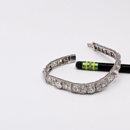Antique Art Deco 15.15cts  Diamond  Platinum Filigree Bracelet 5