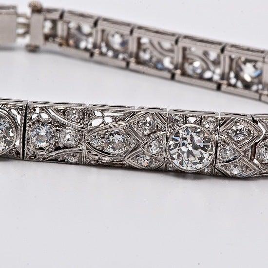 Antique Art Deco 15.15cts  Diamond  Platinum Filigree Bracelet 6