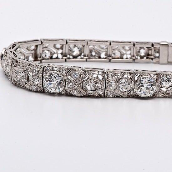 Antique Art Deco 15.15cts  Diamond  Platinum Filigree Bracelet 7