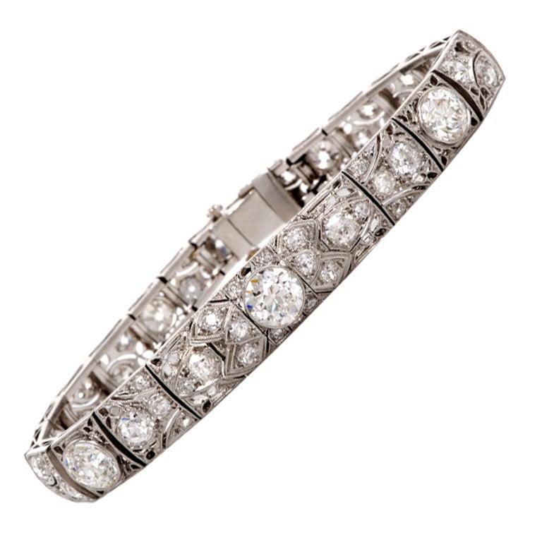 Antique Art Deco 15.15cts  Diamond  Platinum Filigree Bracelet 1