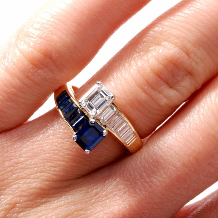 Oscar Heyman 2.45 ct Diamond Sapphire Gold Bypass Ring 6