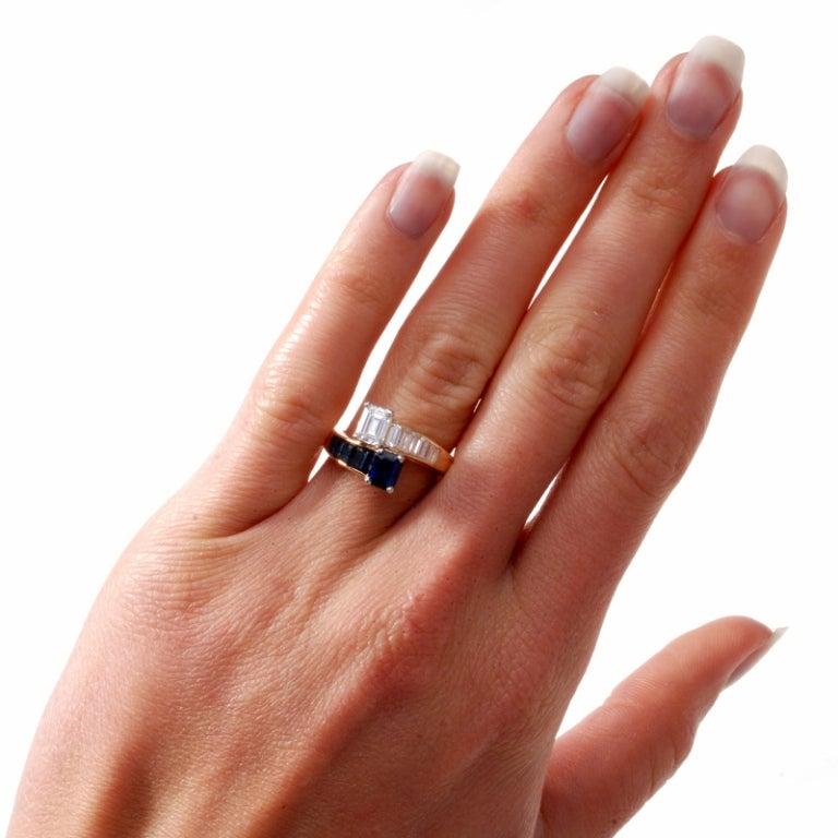 Oscar Heyman 2.45 ct Diamond Sapphire Gold Bypass Ring 7