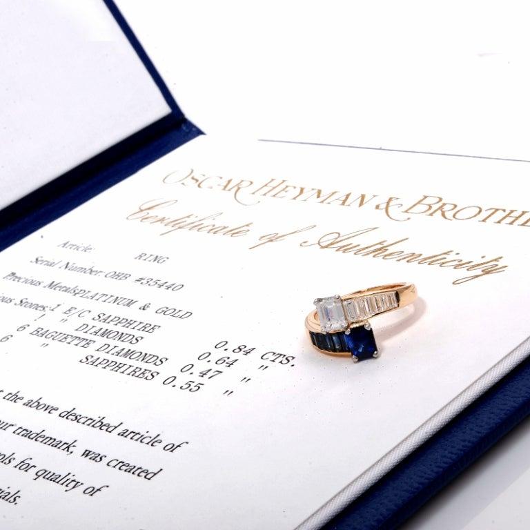 Oscar Heyman 2.45 ct Diamond Sapphire Gold Bypass Ring 8
